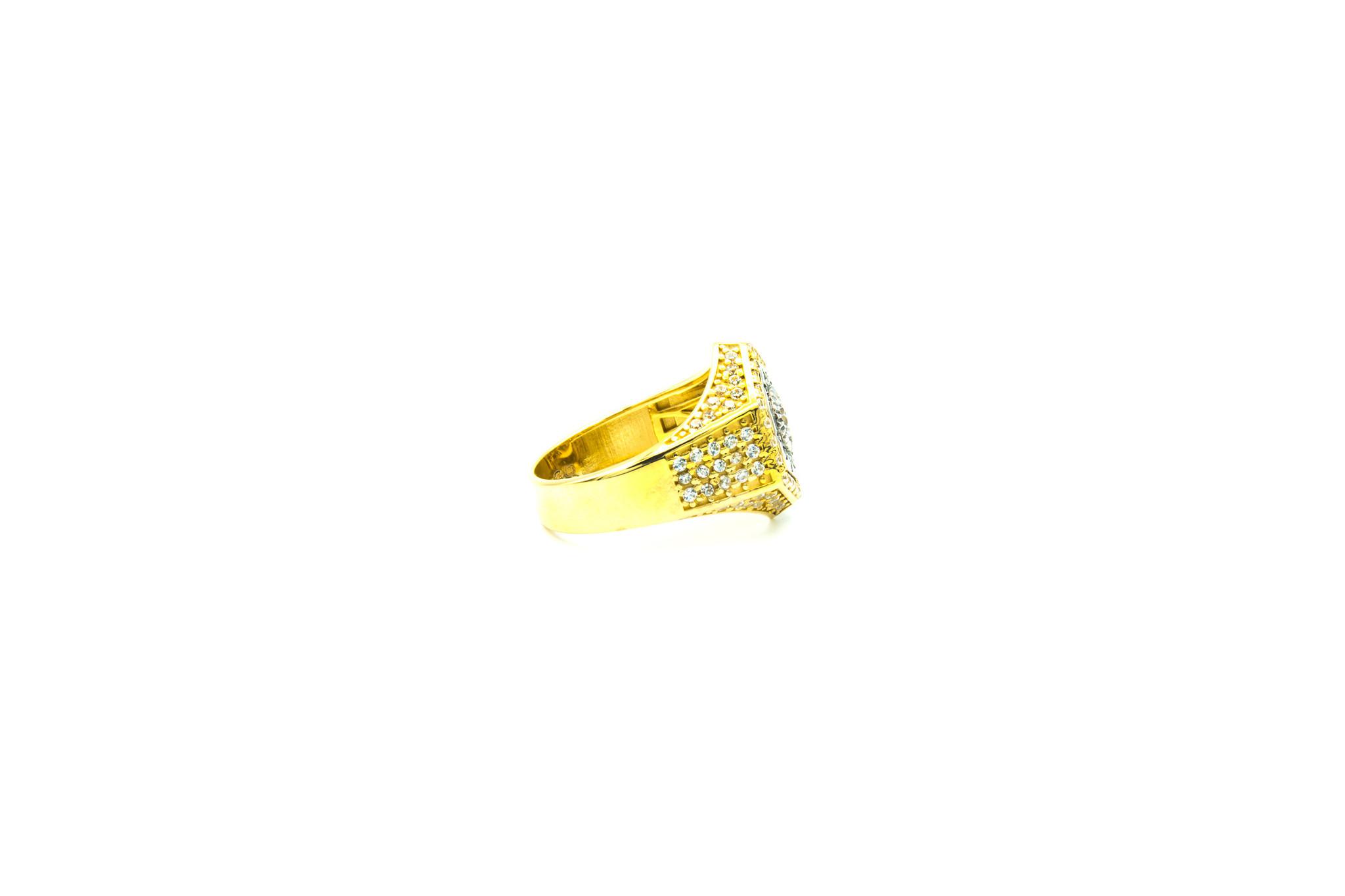 Ring zegel zeshoek met zirkonia's bicolor-3