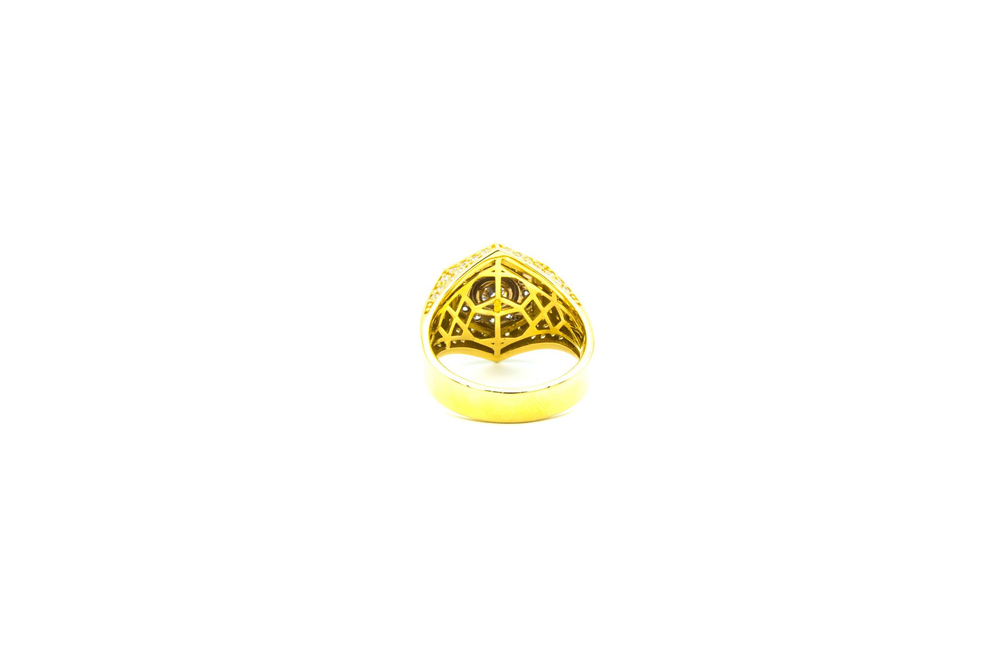 Ring zegel zeshoek met zirkonia's bicolor-4
