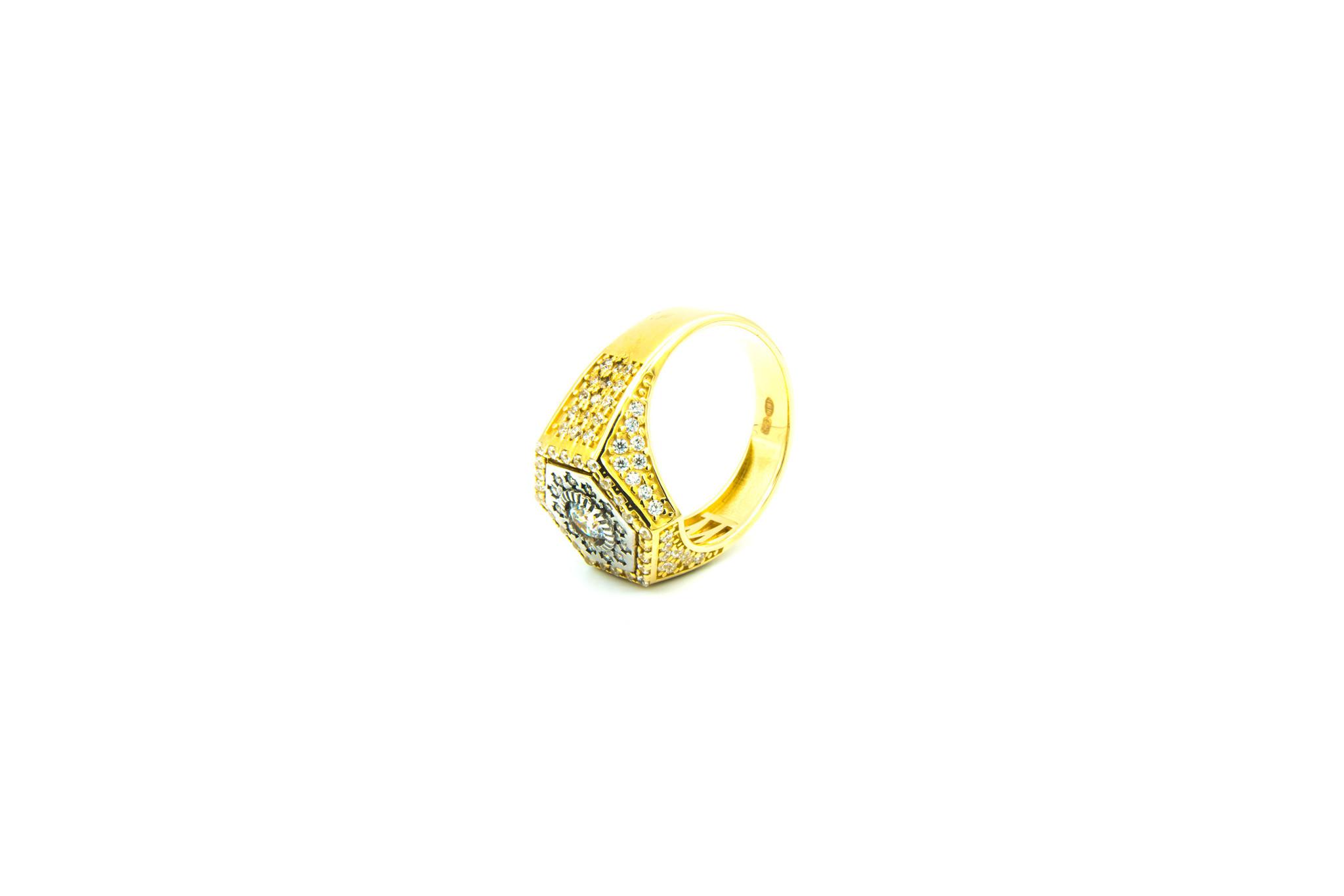 Ring zegel zeshoek met zirkonia's bicolor-5