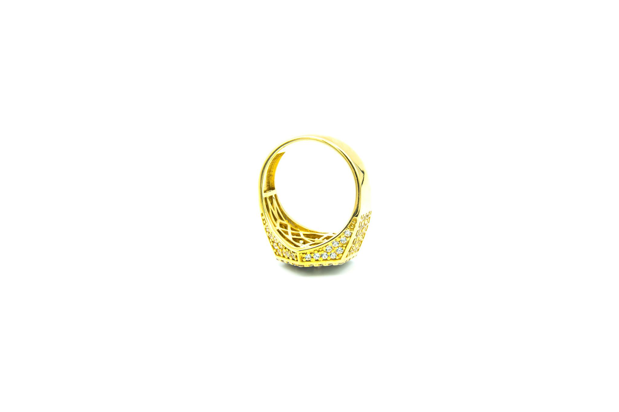 Ring zegel zeshoek met zirkonia's bicolor-6