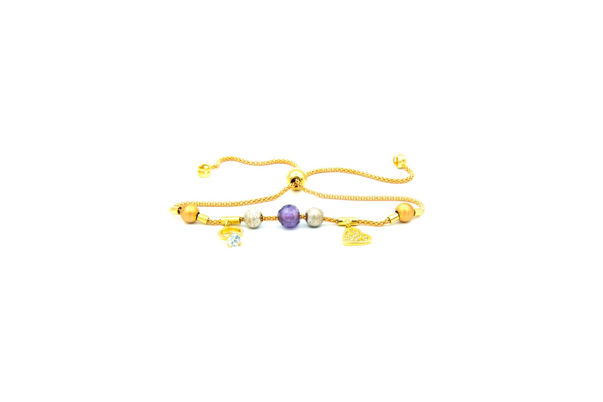 Armband rosékoord verstelbaar met balletjes en zirkonia's tricolor-1