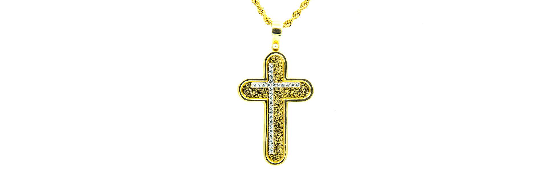 Hanger witgouden asymmetrisch kruis in geelgouden kruis met zirkonia's