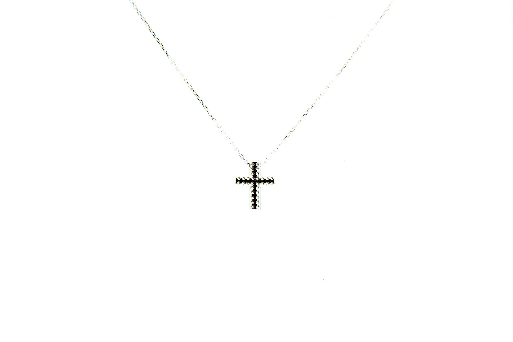 Ketting met vaste hanger kruisje dubbele rij zirkonia's S witgoud-4
