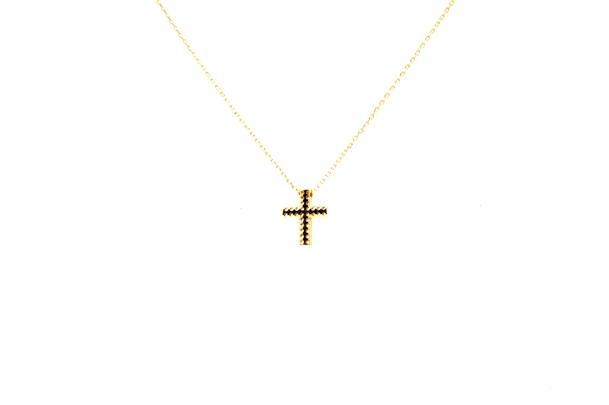 Ketting met vaste hanger kruisje dubbele rij zirkonia's S rosé-5