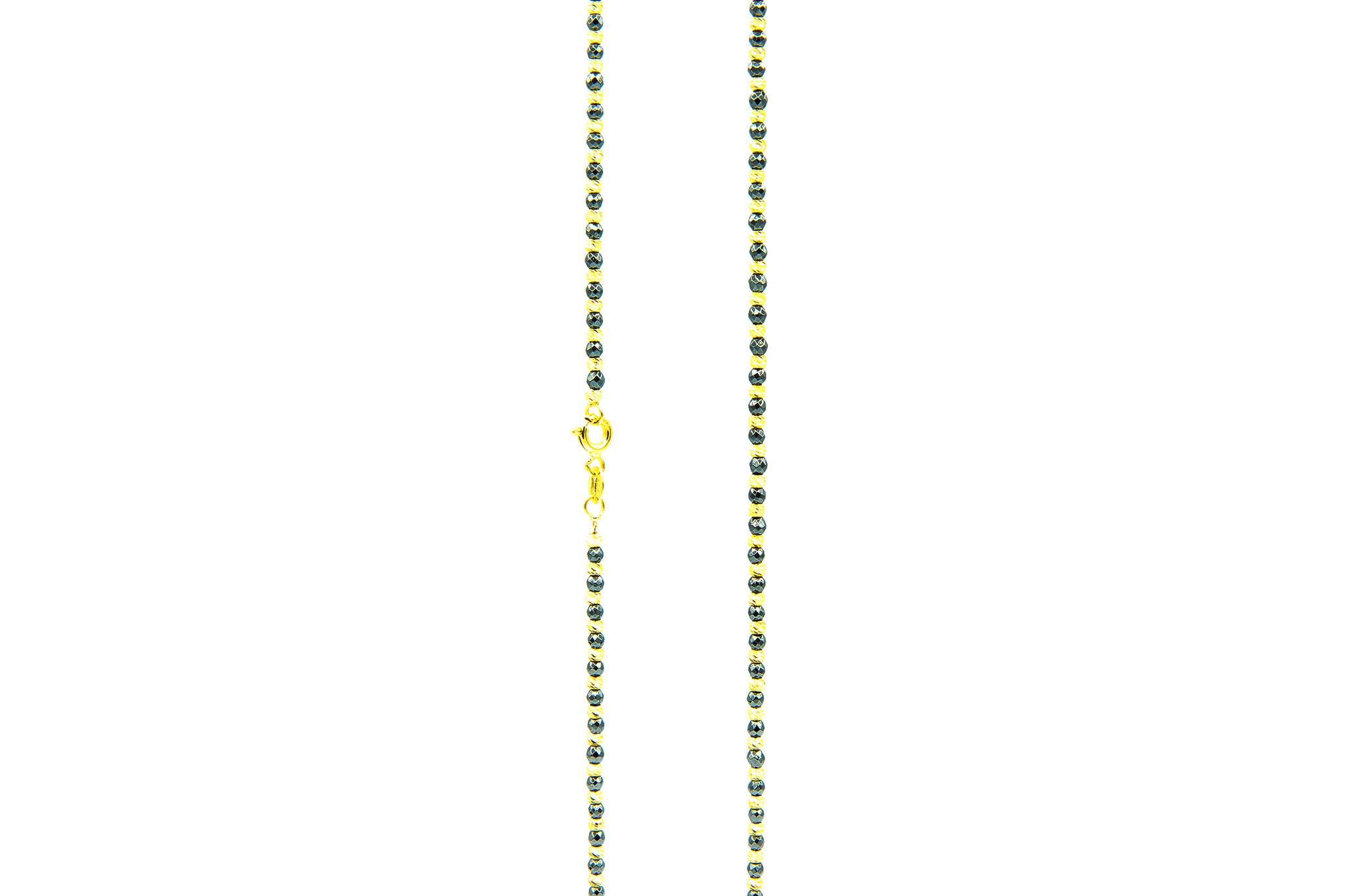 Ketting balletjes diamond cut zwart/geel-1