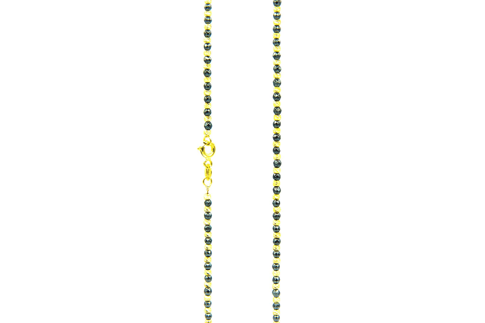 Ketting balletjes diamond cut zwart/geel-3