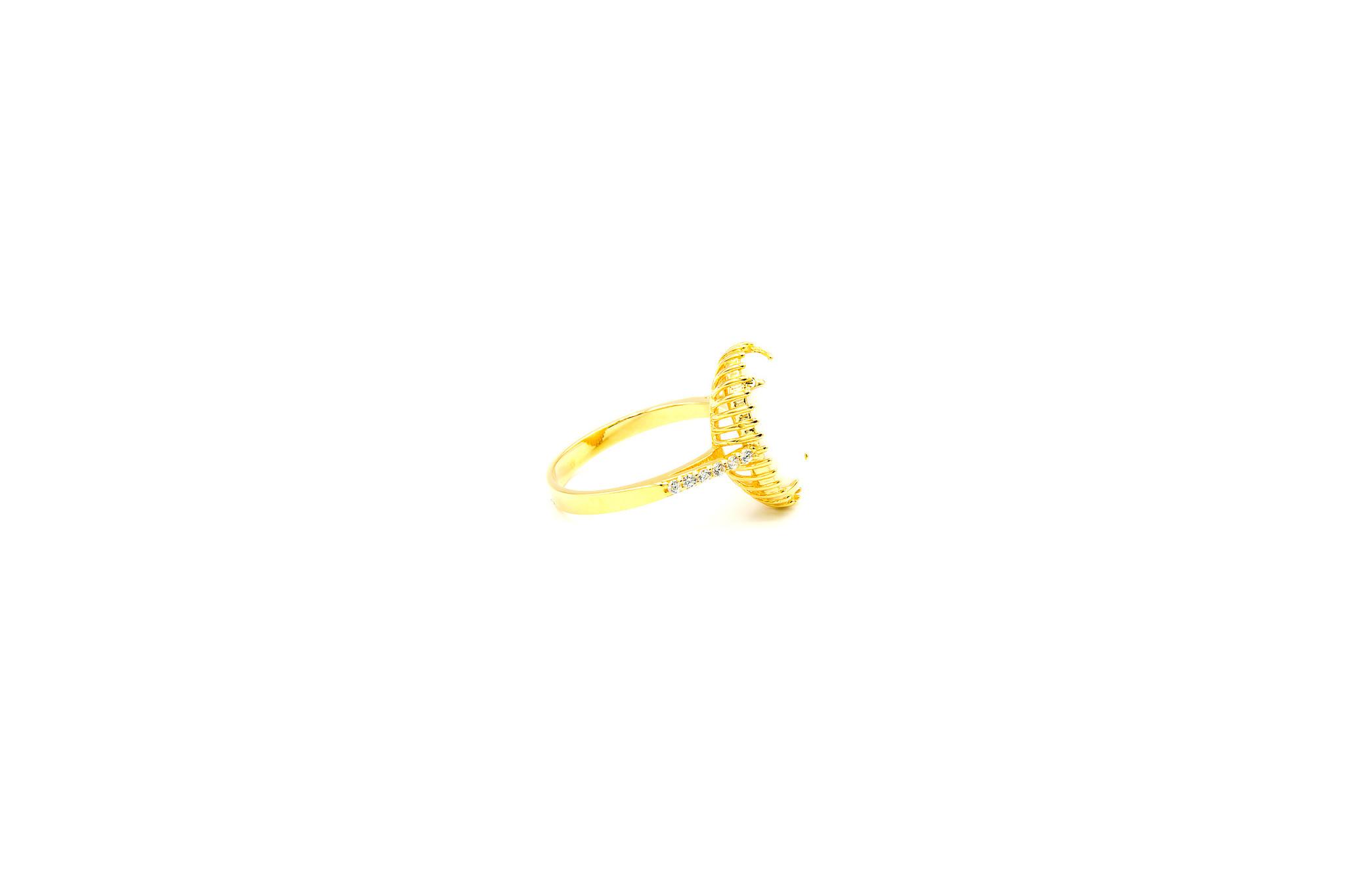 Ring met ovale kunstopaal en zirkonia's-4