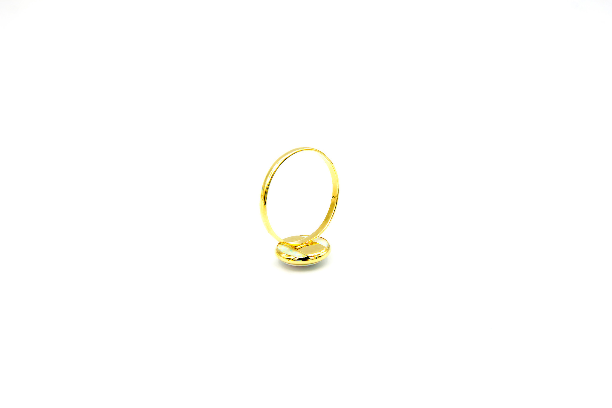 Ring met ronde witte Gilson opaal 9mm-5