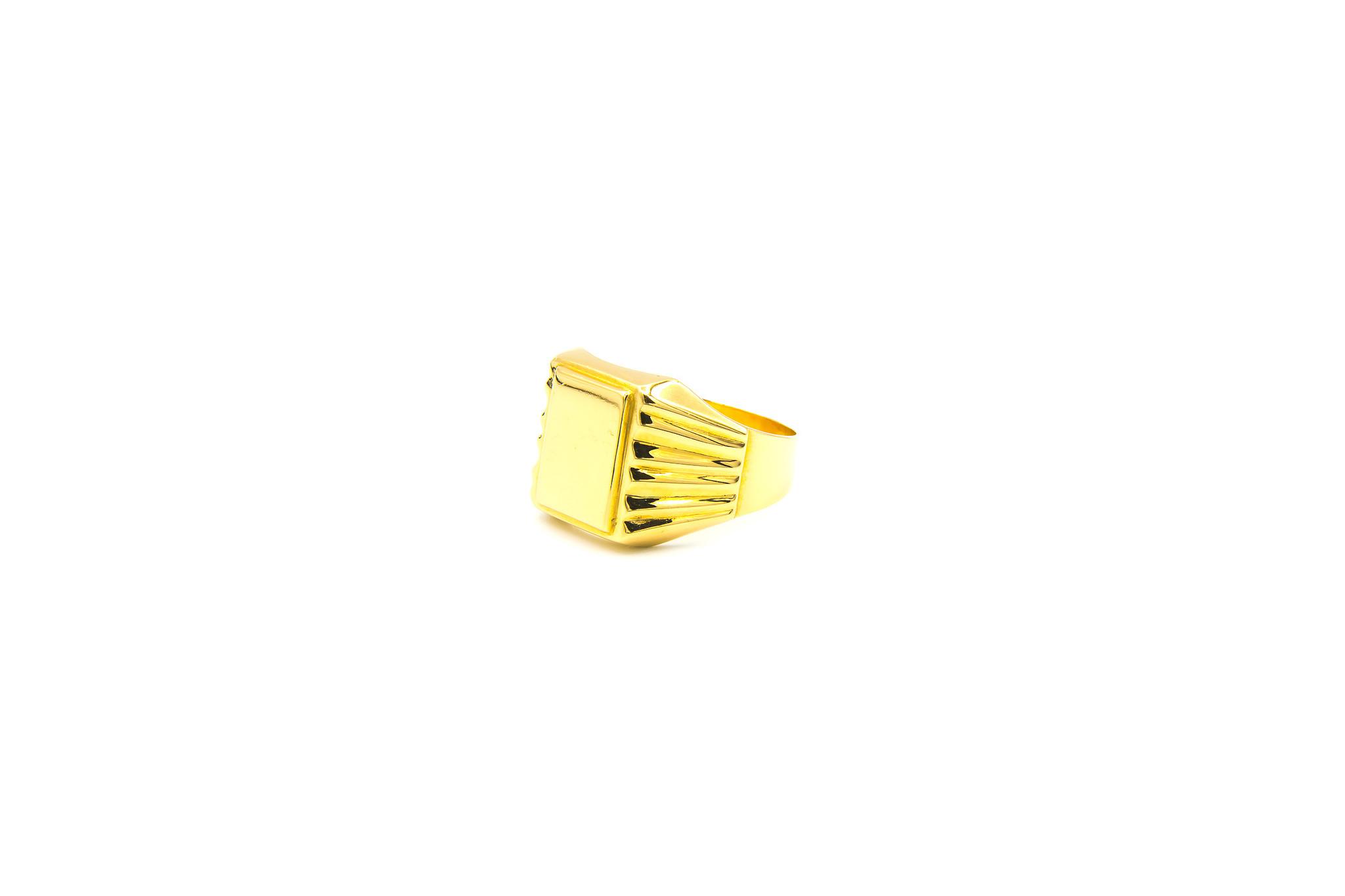 Ring graveerbare zegel met bewerkte band-2