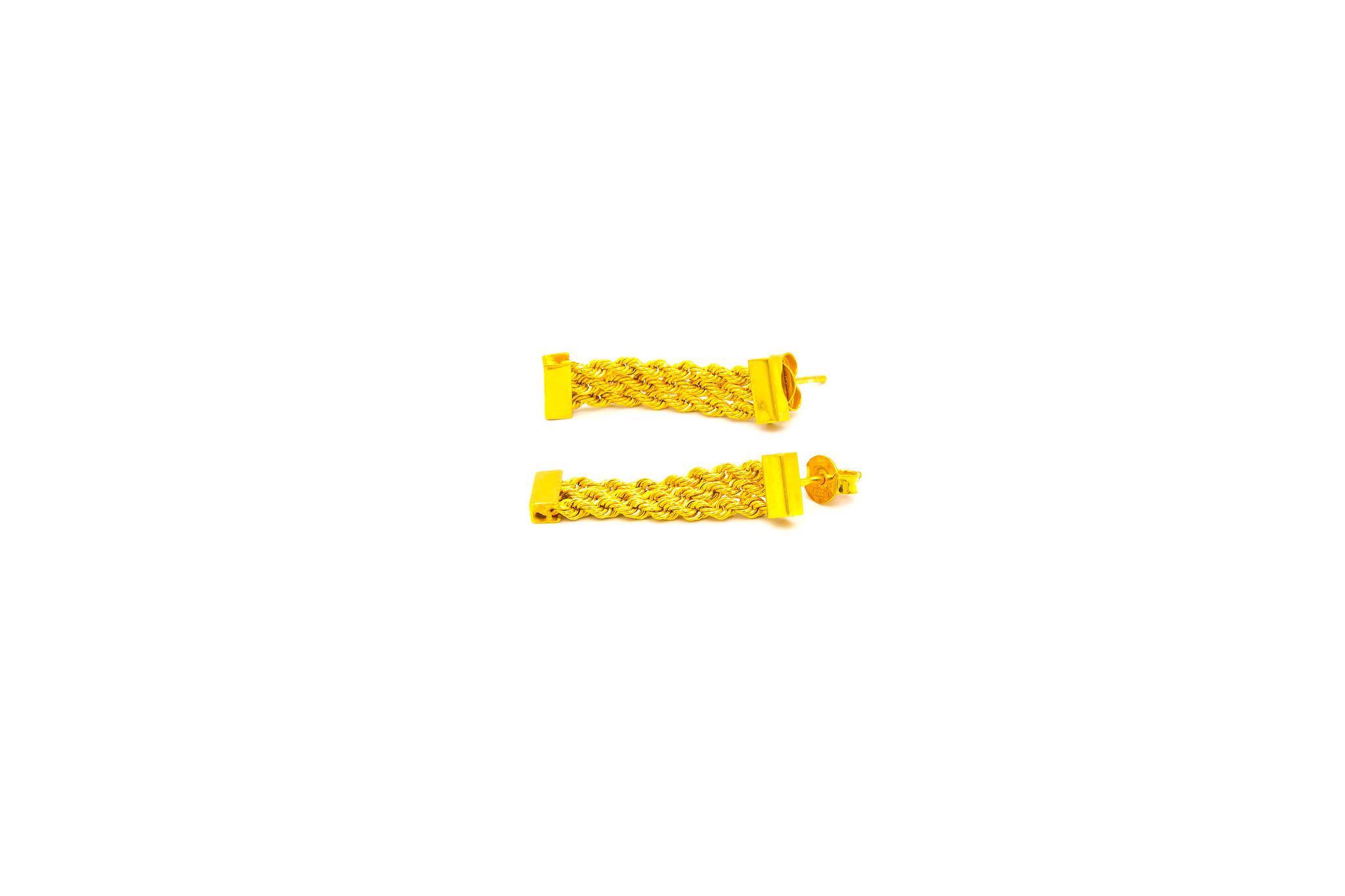 Oorbellen driedubbele Surinaamse rope chain-2