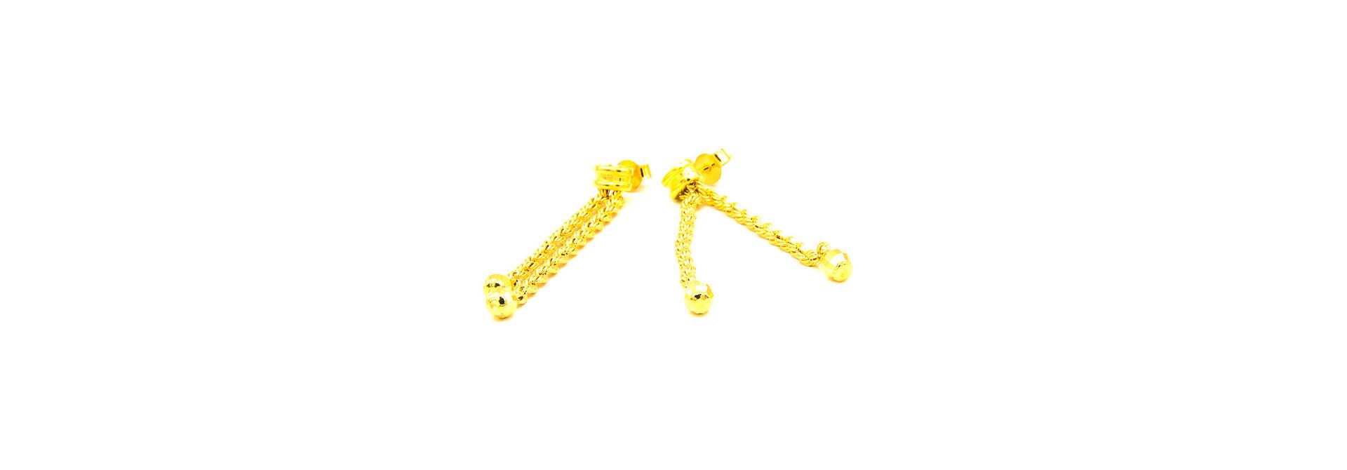 Oorbellen rope chain sliertjes met balletjes