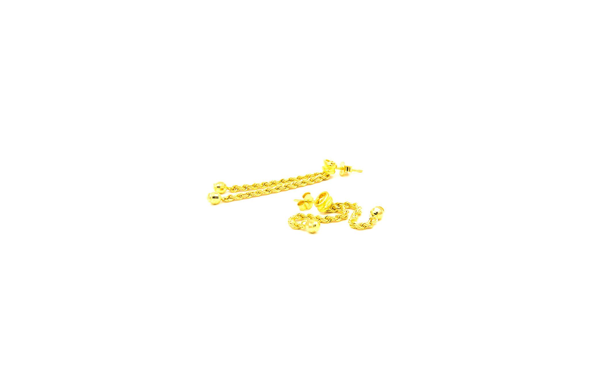 Oorbellen rope chain sliertjes met balletjes-2