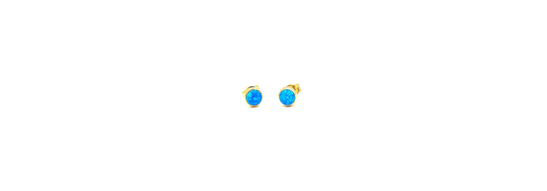 Oorbellen stekers met blauwe Gilson opaal