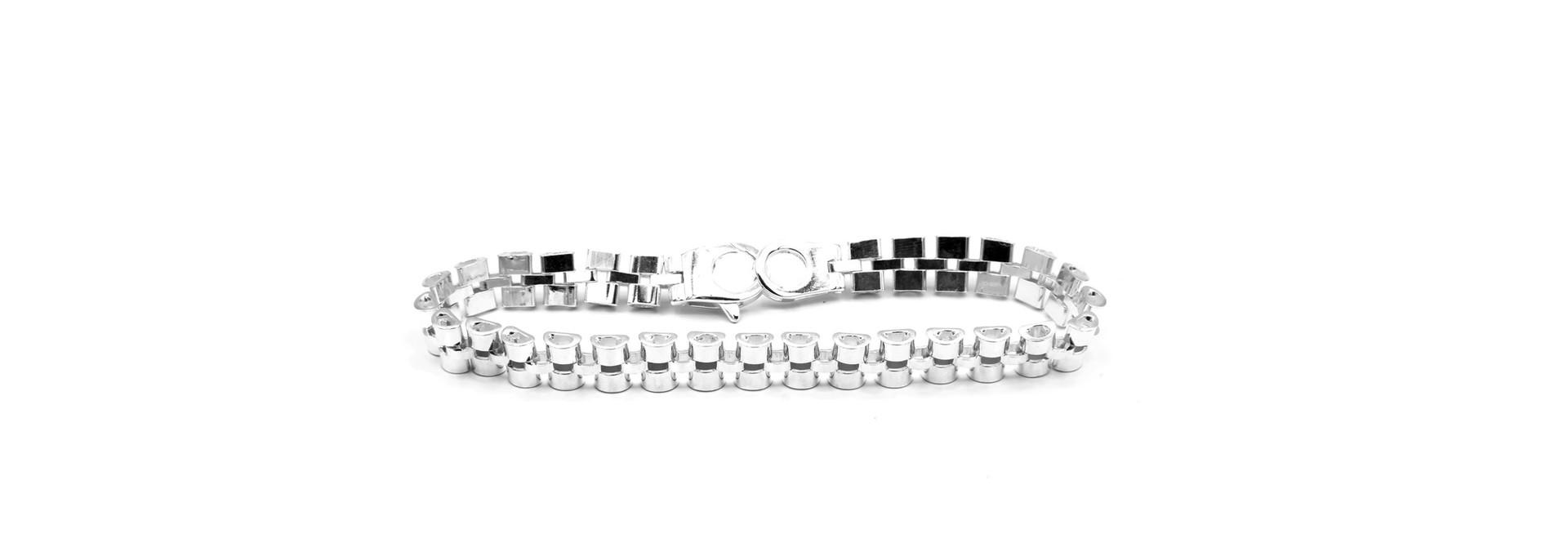 Armband rolexschakel zilver