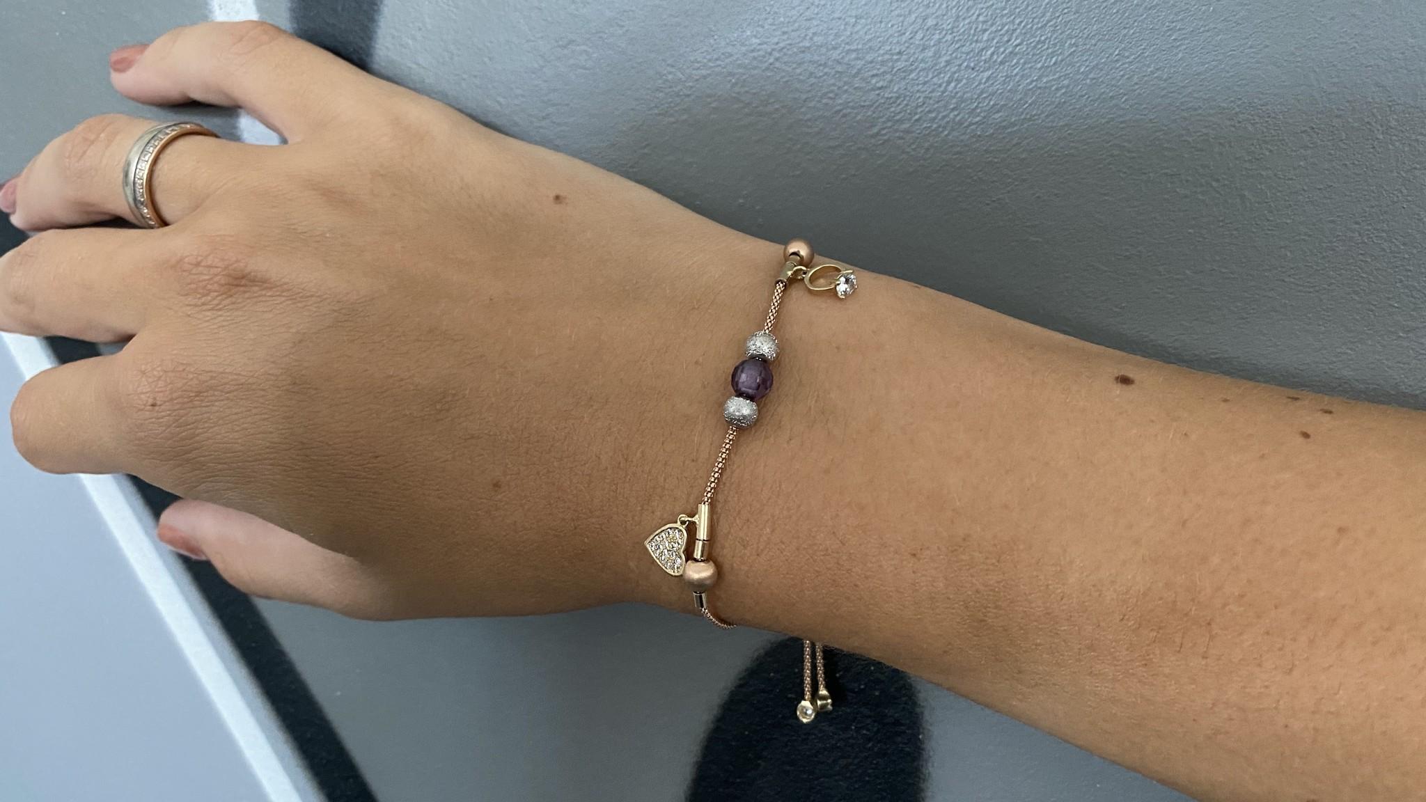 Armband rosékoord verstelbaar met balletjes en zirkonia's tricolor-2