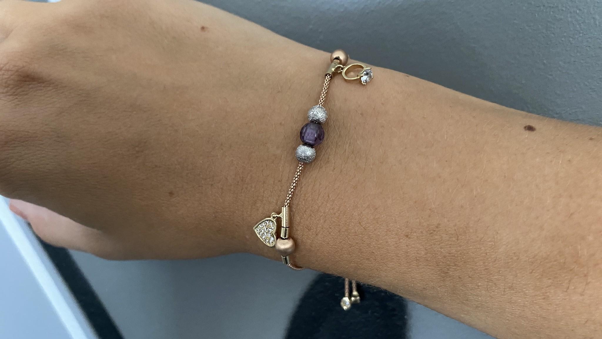 Armband rosékoord verstelbaar met balletjes en zirkonia's tricolor-4