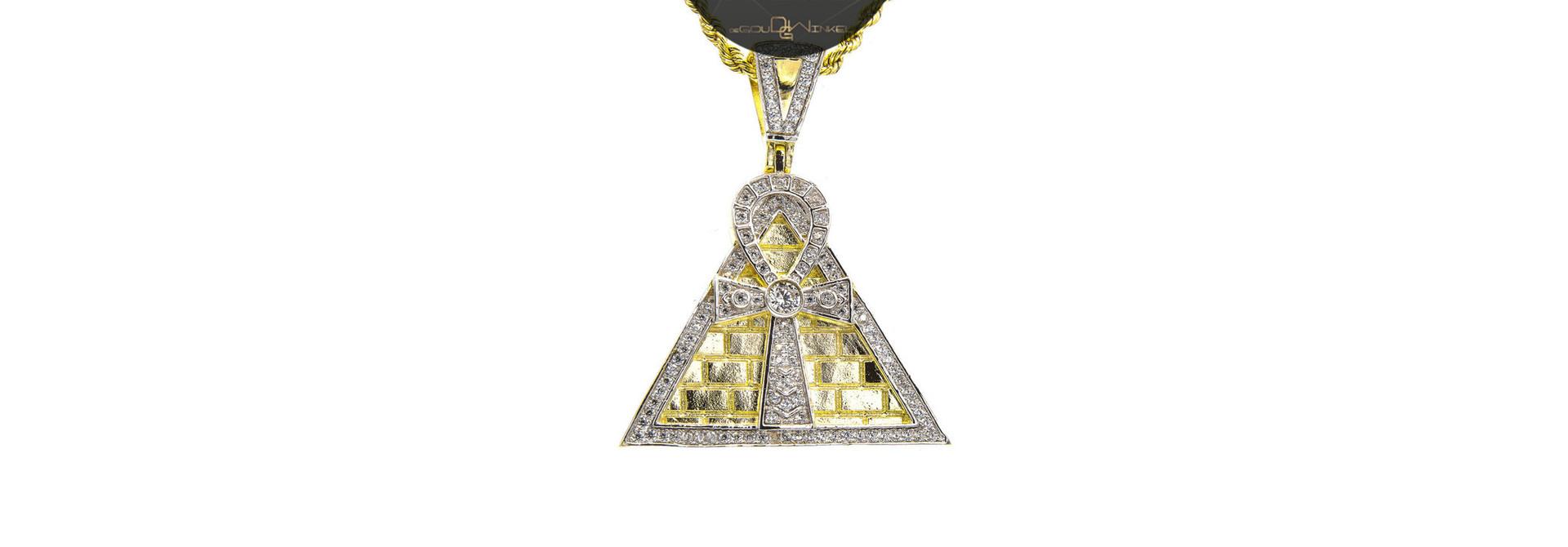 Hanger Ankh op piramide met zirkonia's bicolor