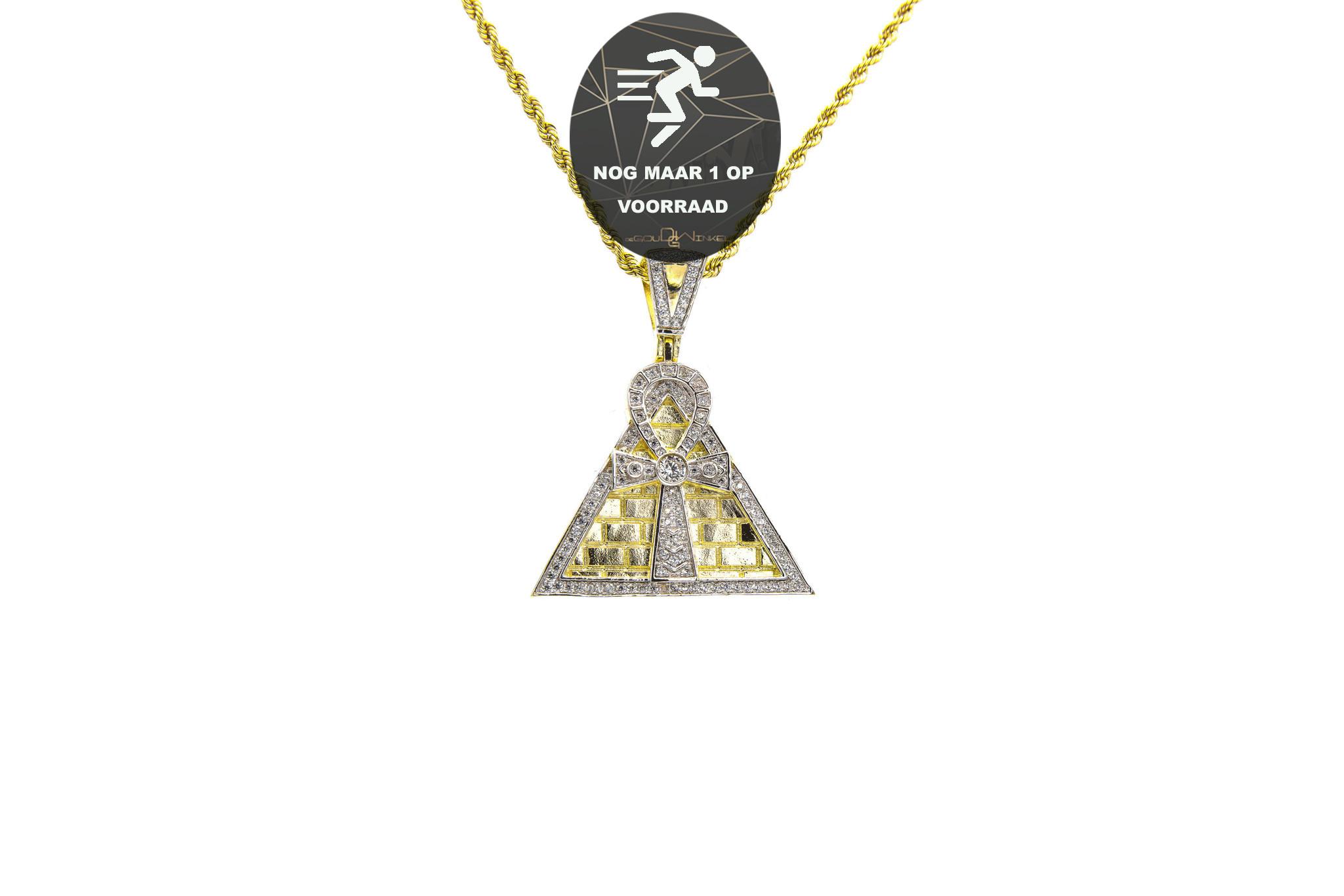 Hanger Ankh op piramide met zirkonia's bicolor-1