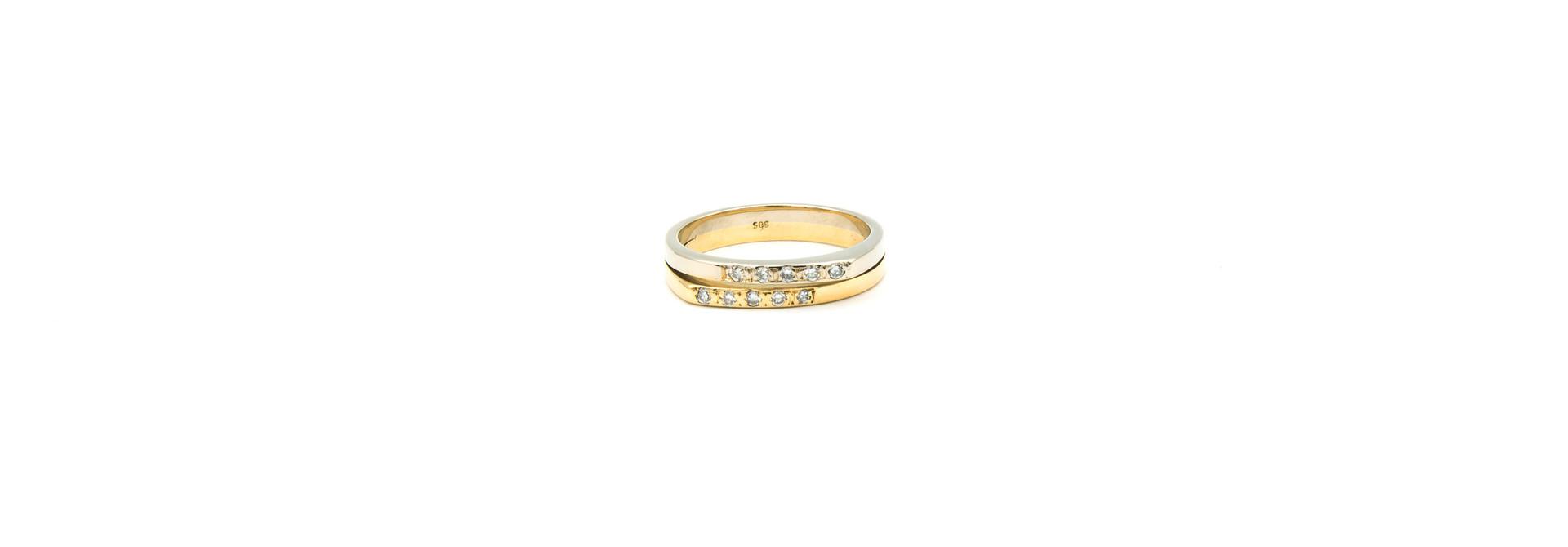 Ring 2 smalle rijen met diamantjes bicolor