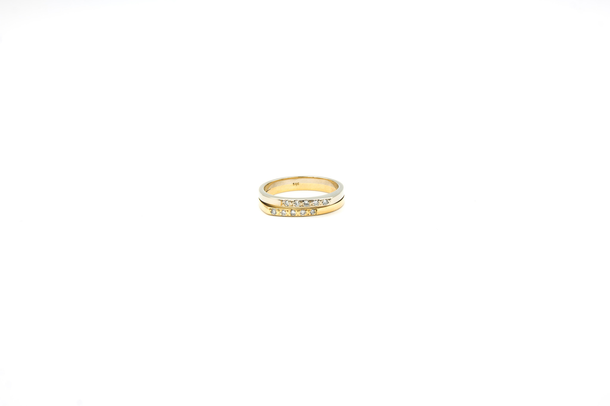 Ring 2 smalle rijen met diamantjes bicolor-1