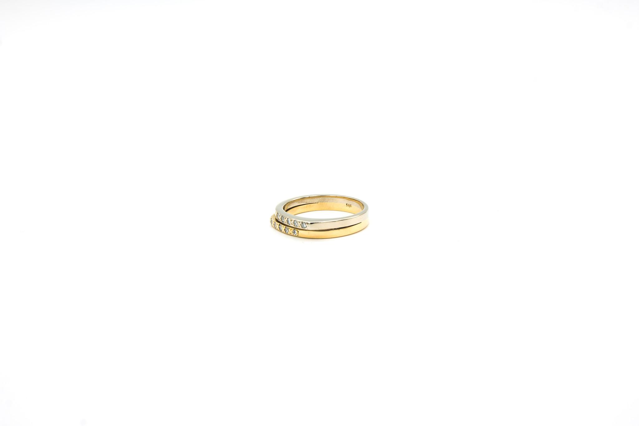 Ring 2 smalle rijen met diamantjes bicolor-2