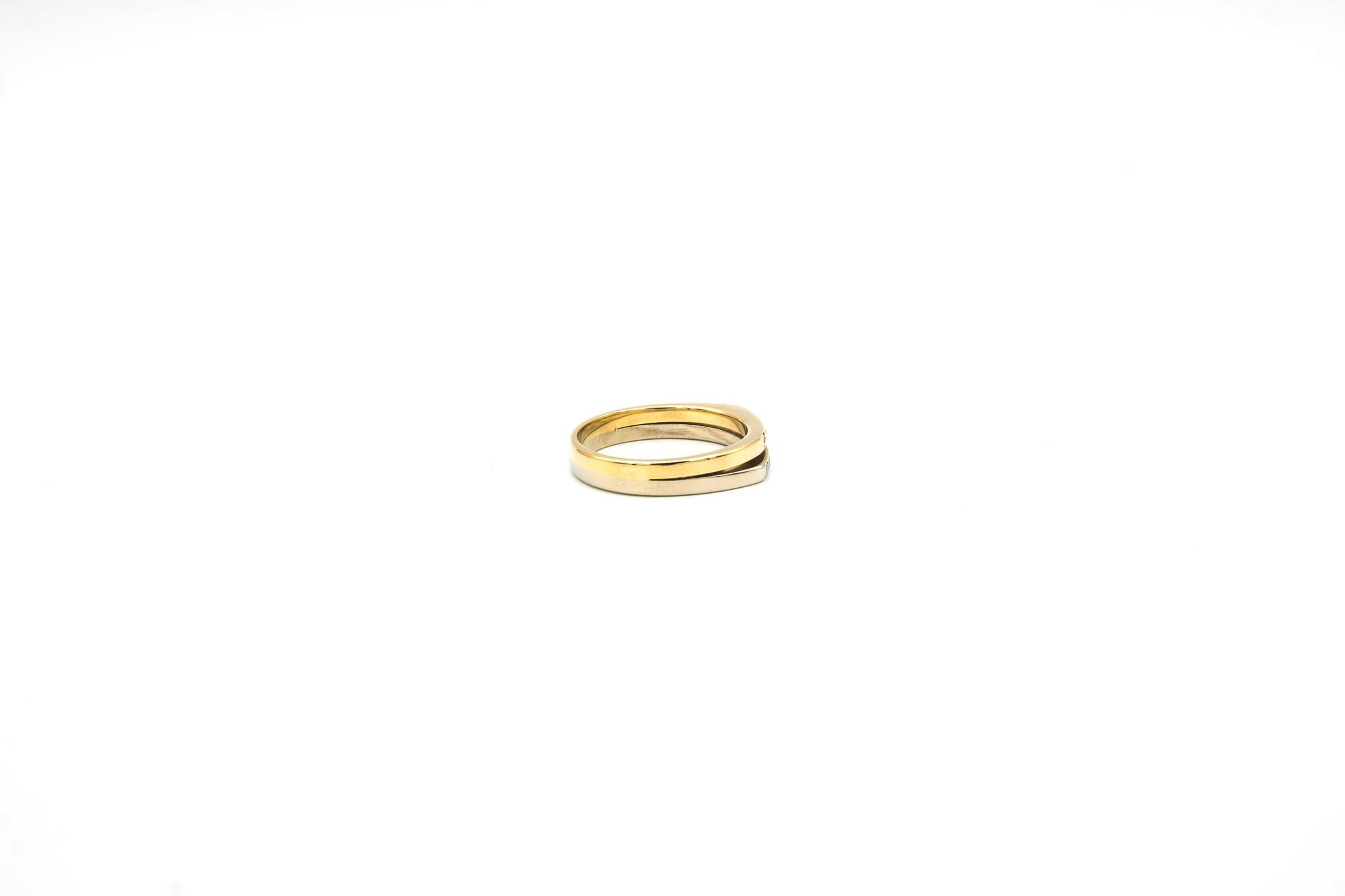 Ring 2 smalle rijen met diamantjes bicolor-4