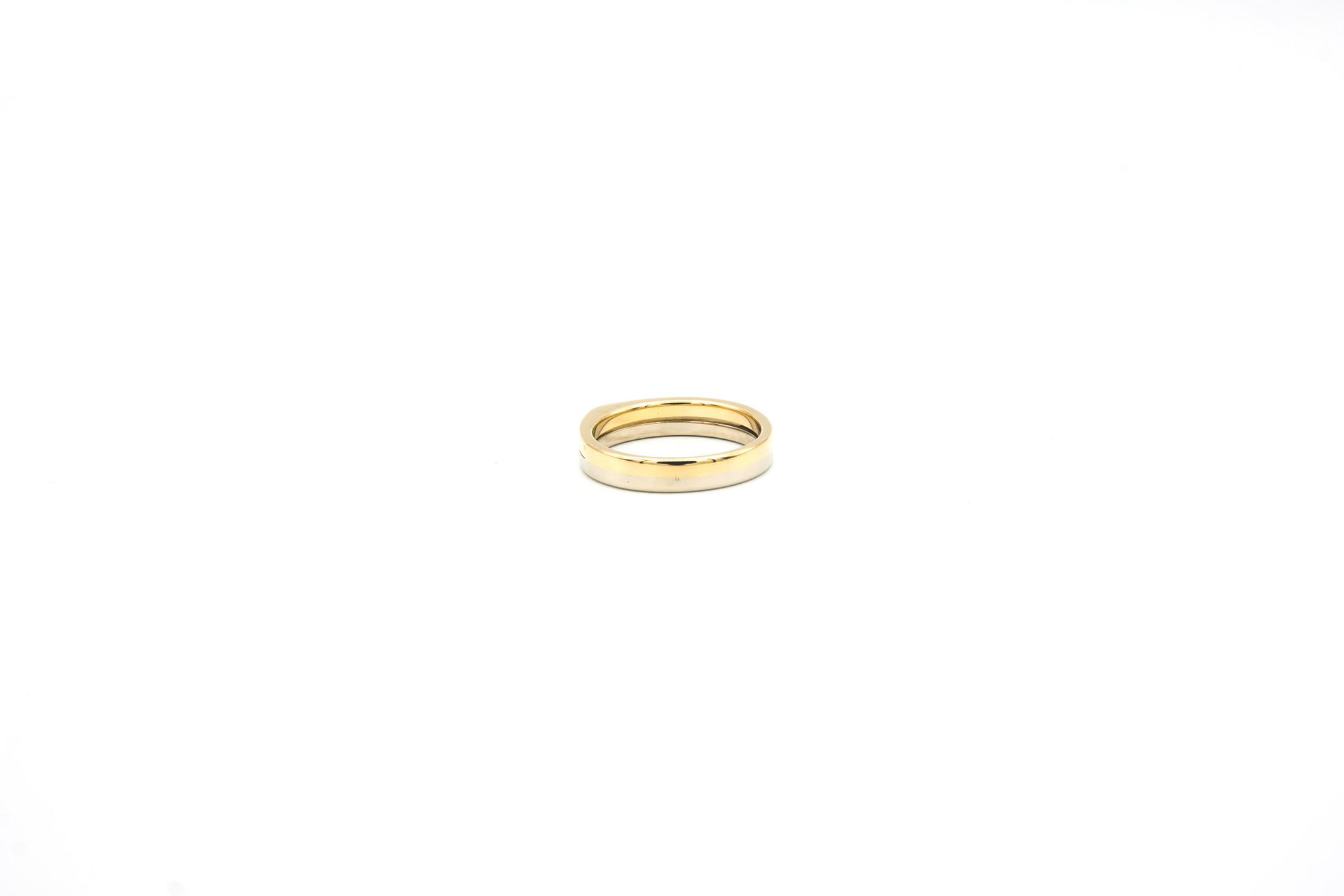 Ring 2 smalle rijen met diamantjes bicolor-5