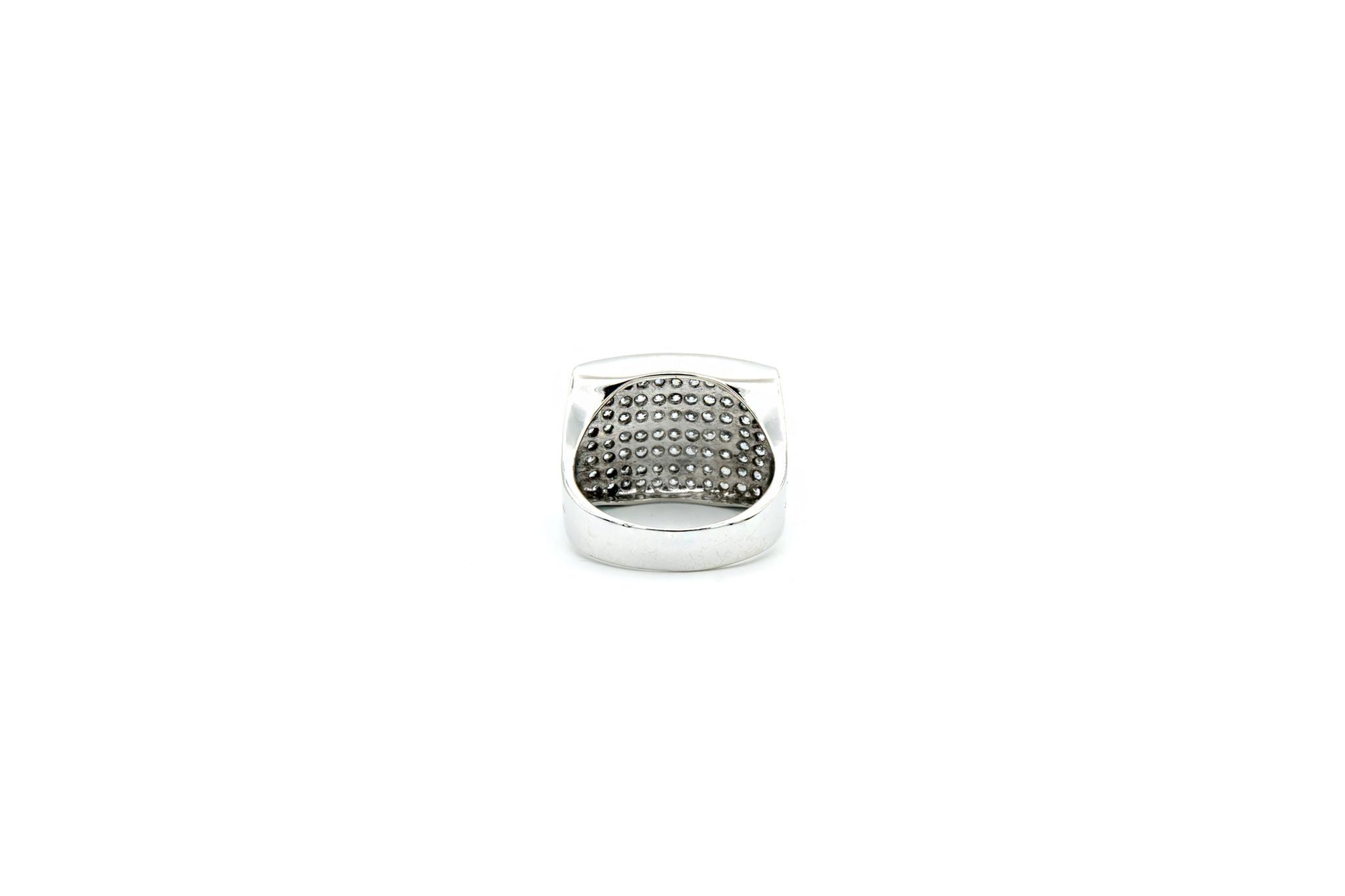 Ring met brede zegel met zirkonia-4