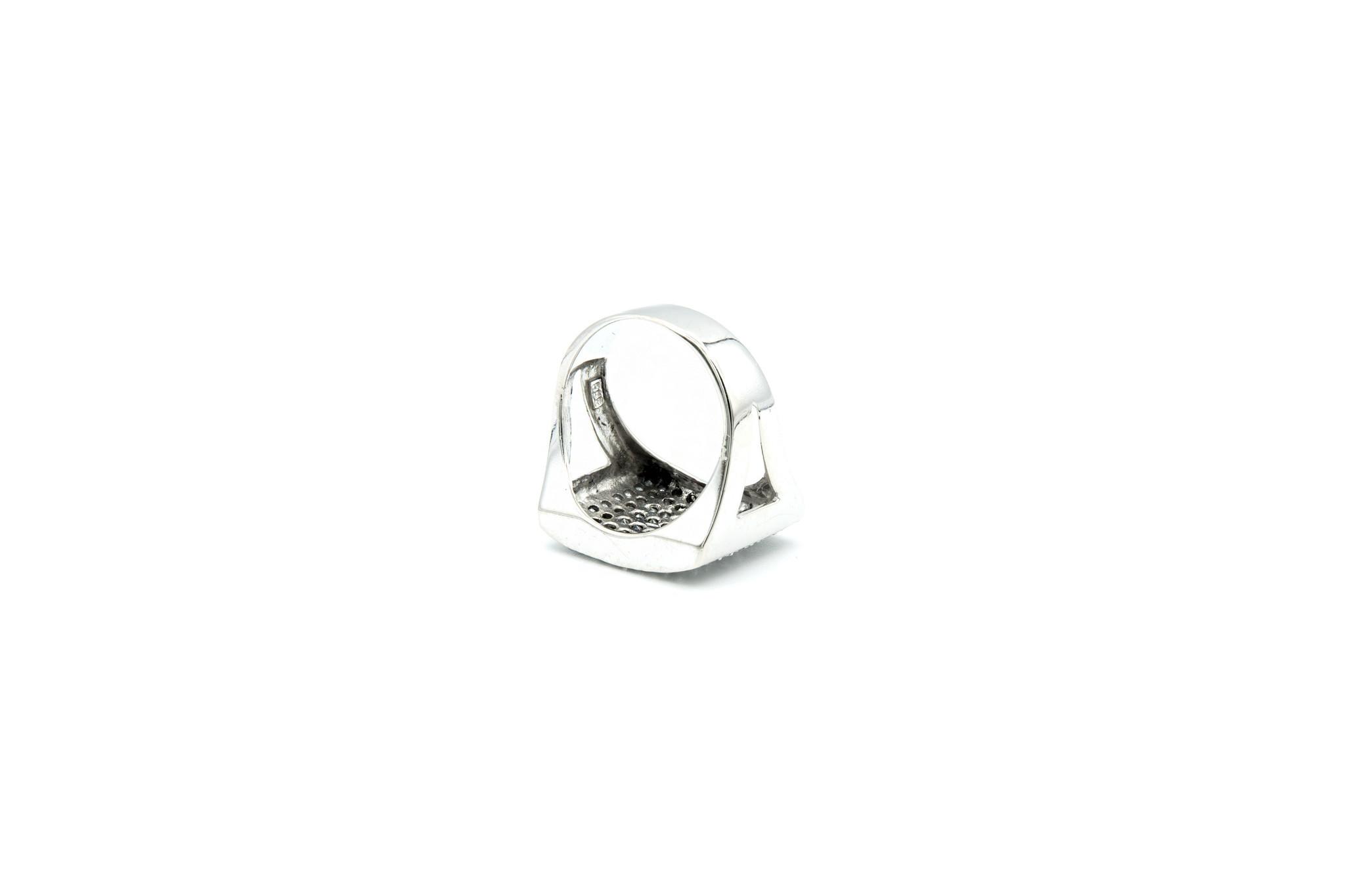 Ring met brede zegel met zirkonia-5