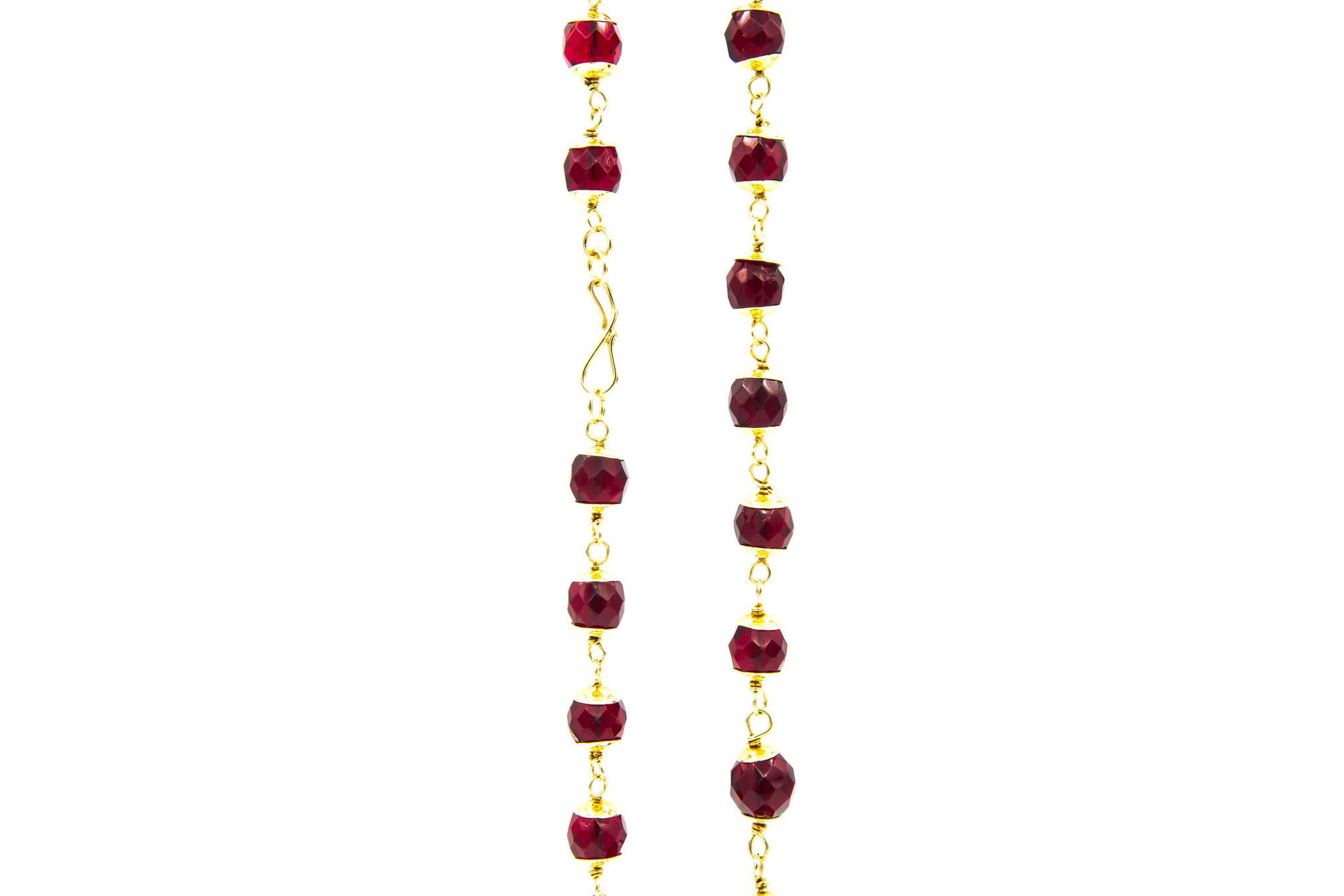 Ketting met rode, doorzichtige kralen-2