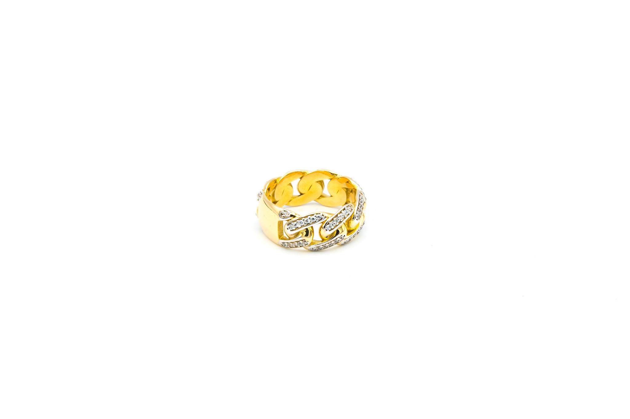 Ring cuban link met plaatje en zirkonia's-2