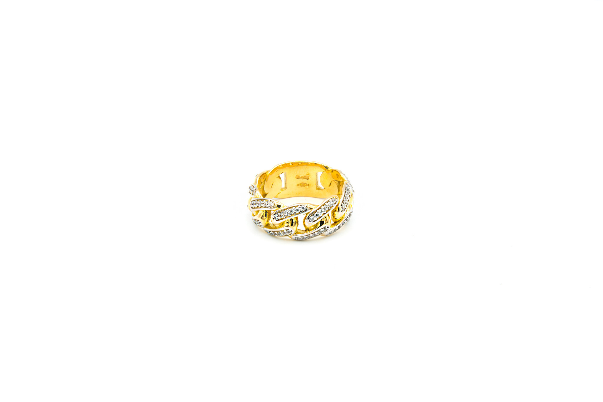 Ring cuban link met plaatje en zirkonia's-3