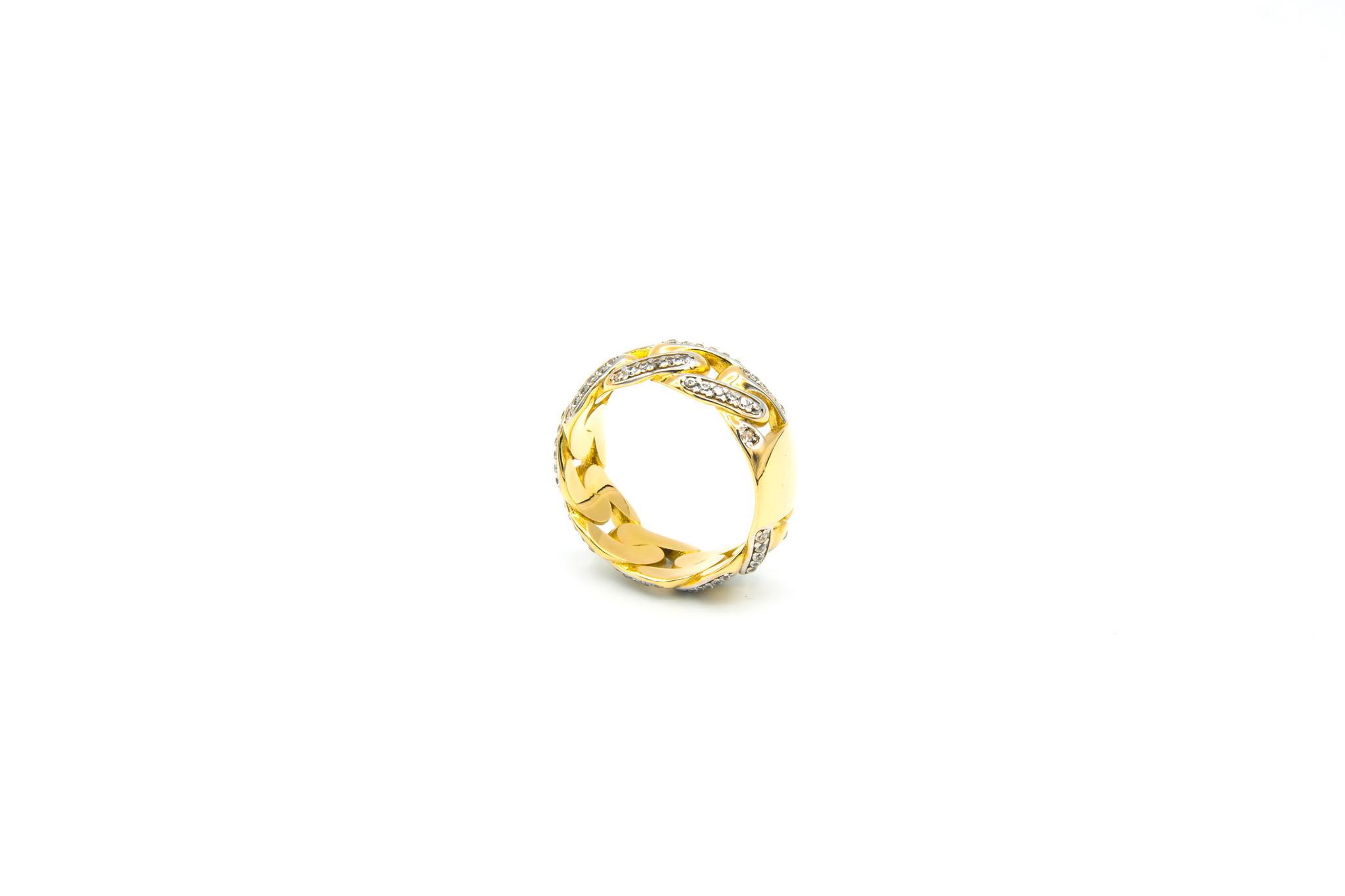Ring cuban link met plaatje en zirkonia's-4