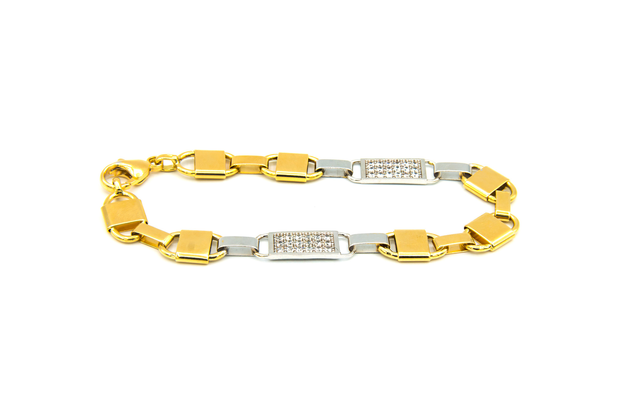 Armband brede Kingsley bicolor met zirkonia's-2
