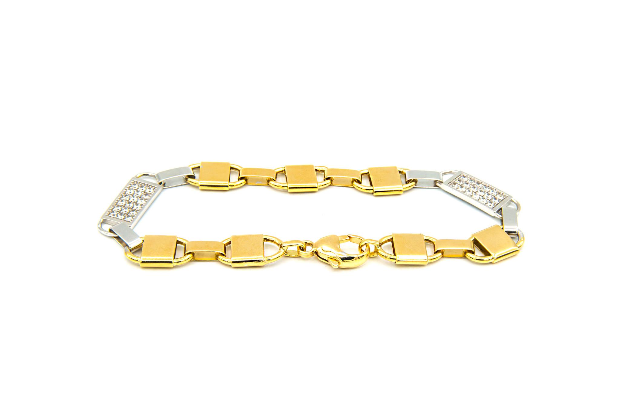 Armband brede Kingsley bicolor met zirkonia's-3