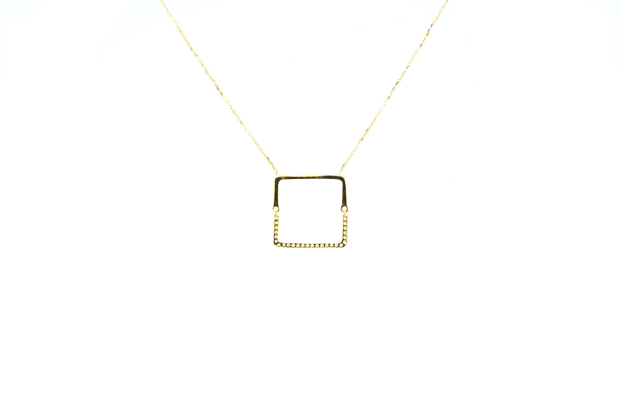 Ketting met vaste hanger vierkant en zirkonia's-3
