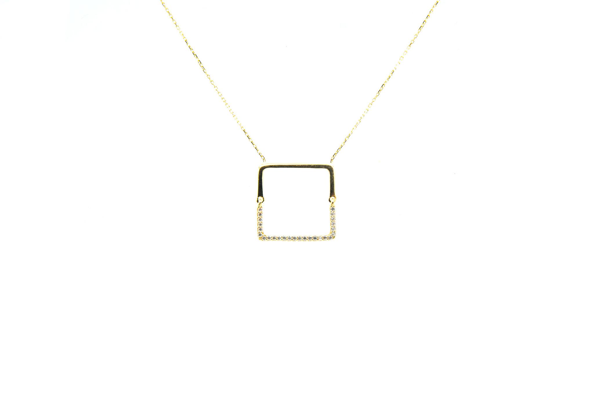 Ketting met vaste hanger vierkant en zirkonia's-2