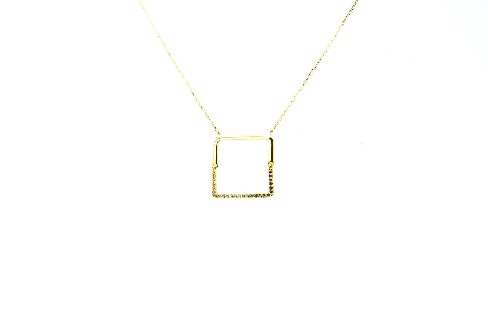 Ketting met vaste hanger vierkant en zirkonia's-4
