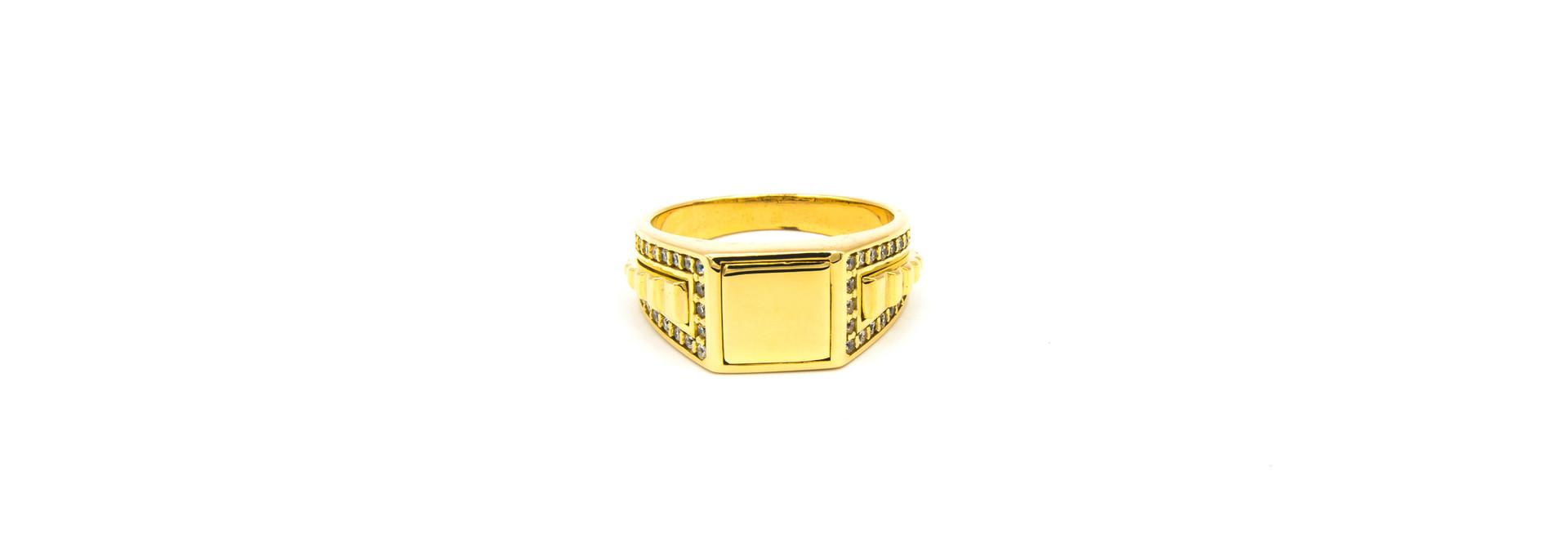 Ring gladde vierkante zegel, bewerkte band en zirkonia's