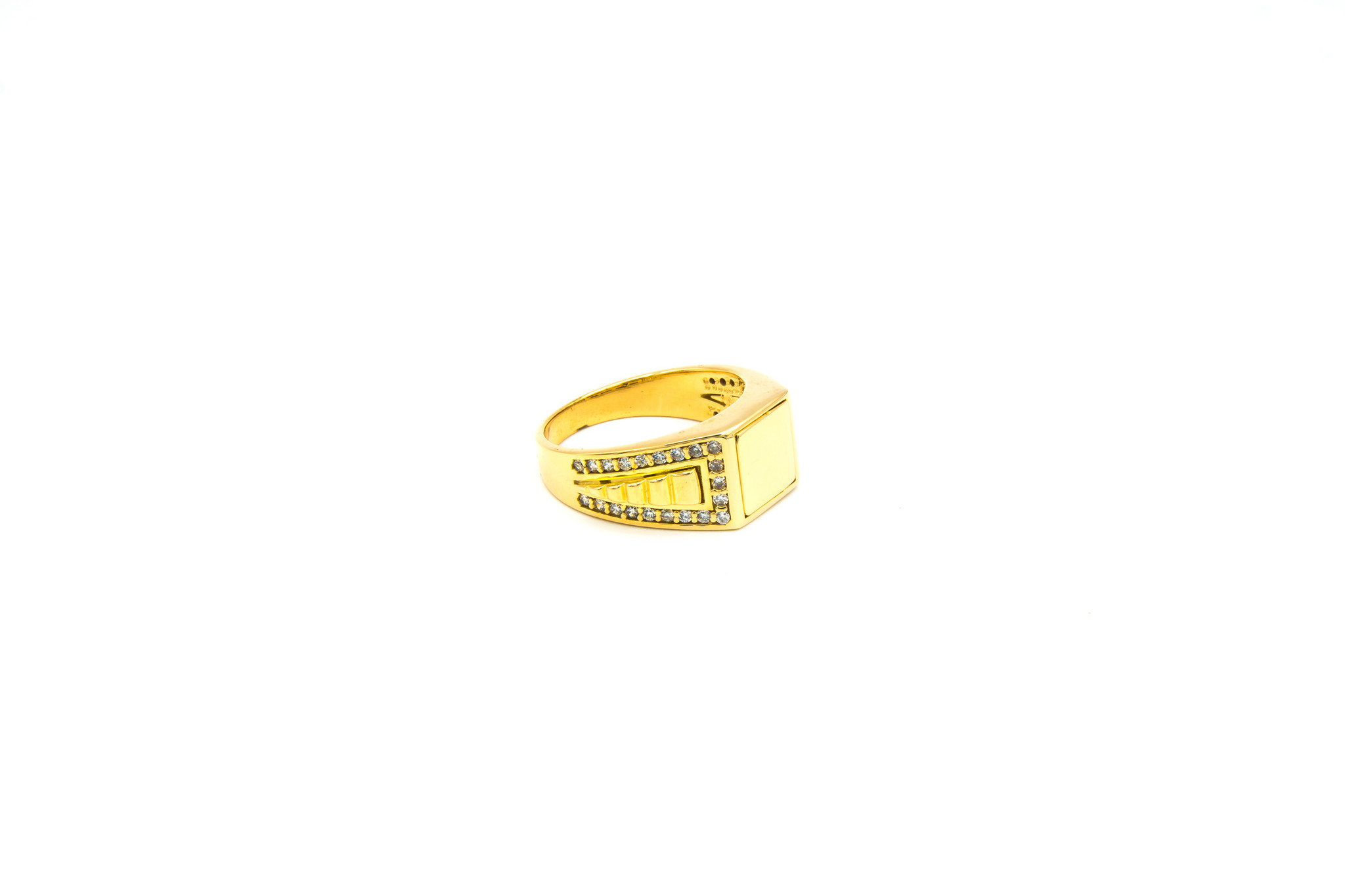 Ring gladde vierkante zegel, bewerkte band en zirkonia's-2