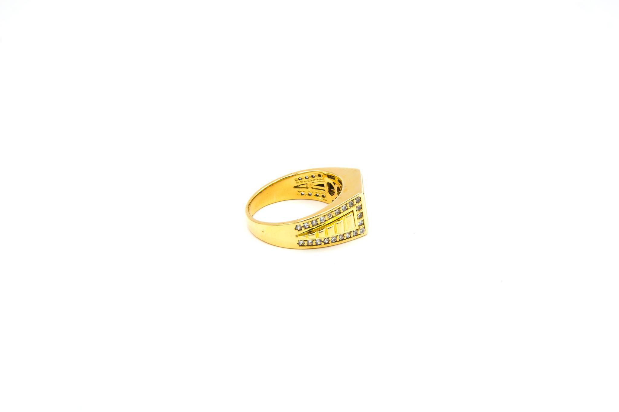 Ring gladde vierkante zegel, bewerkte band en zirkonia's-3