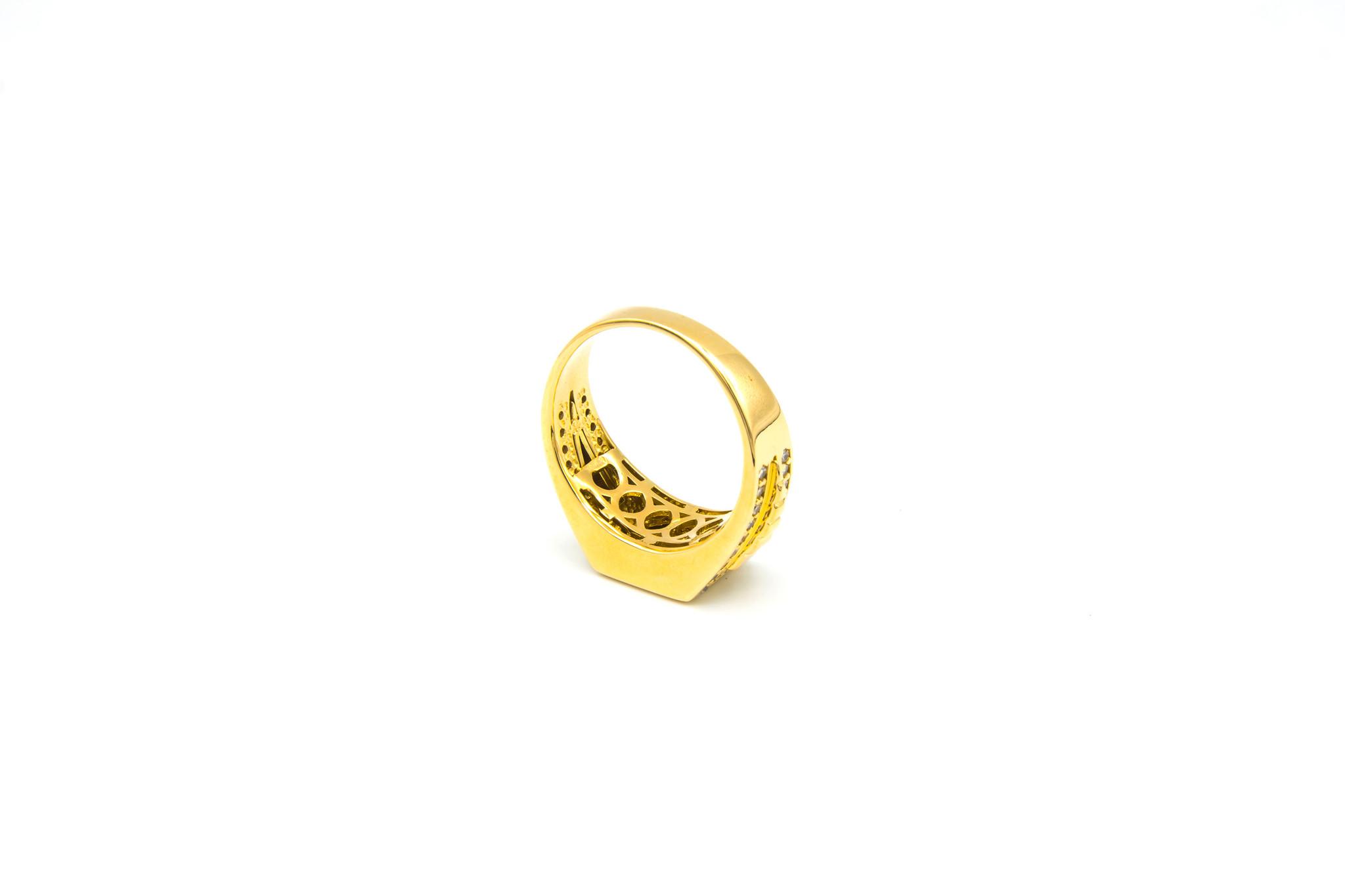 Ring gladde vierkante zegel, bewerkte band en zirkonia's-5