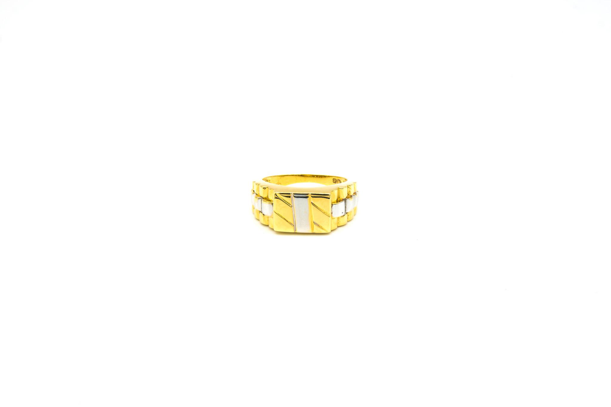 Ring bewerkte vierkante zegel en band bicolor-1