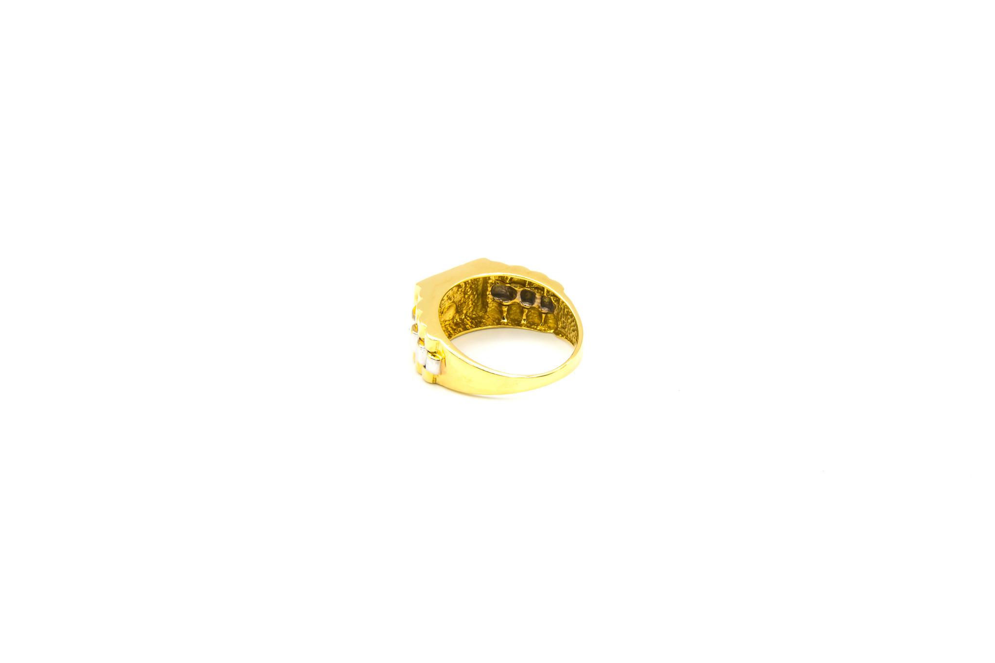 Ring bewerkte vierkante zegel en band bicolor-3
