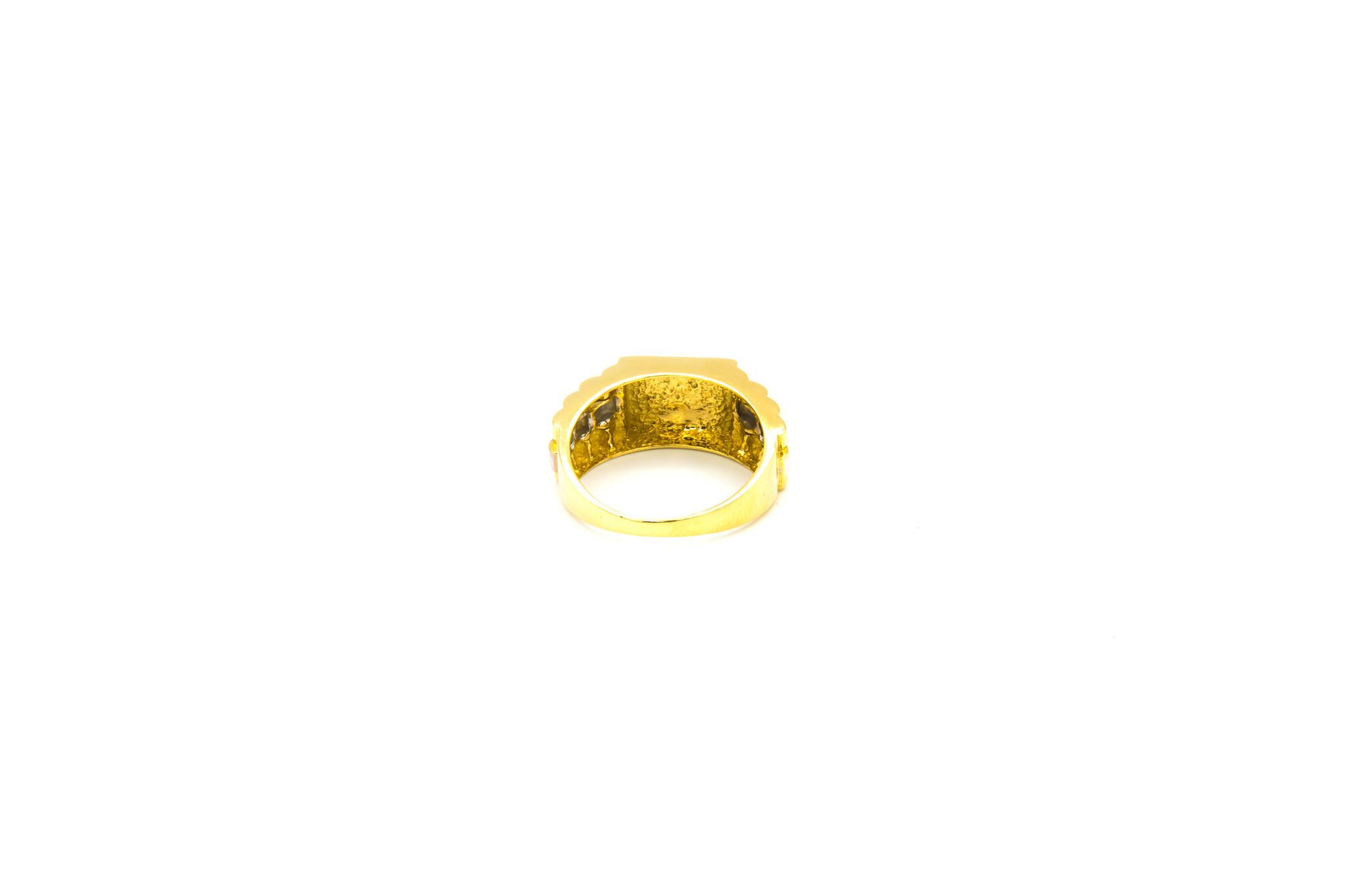 Ring bewerkte vierkante zegel en band bicolor-4