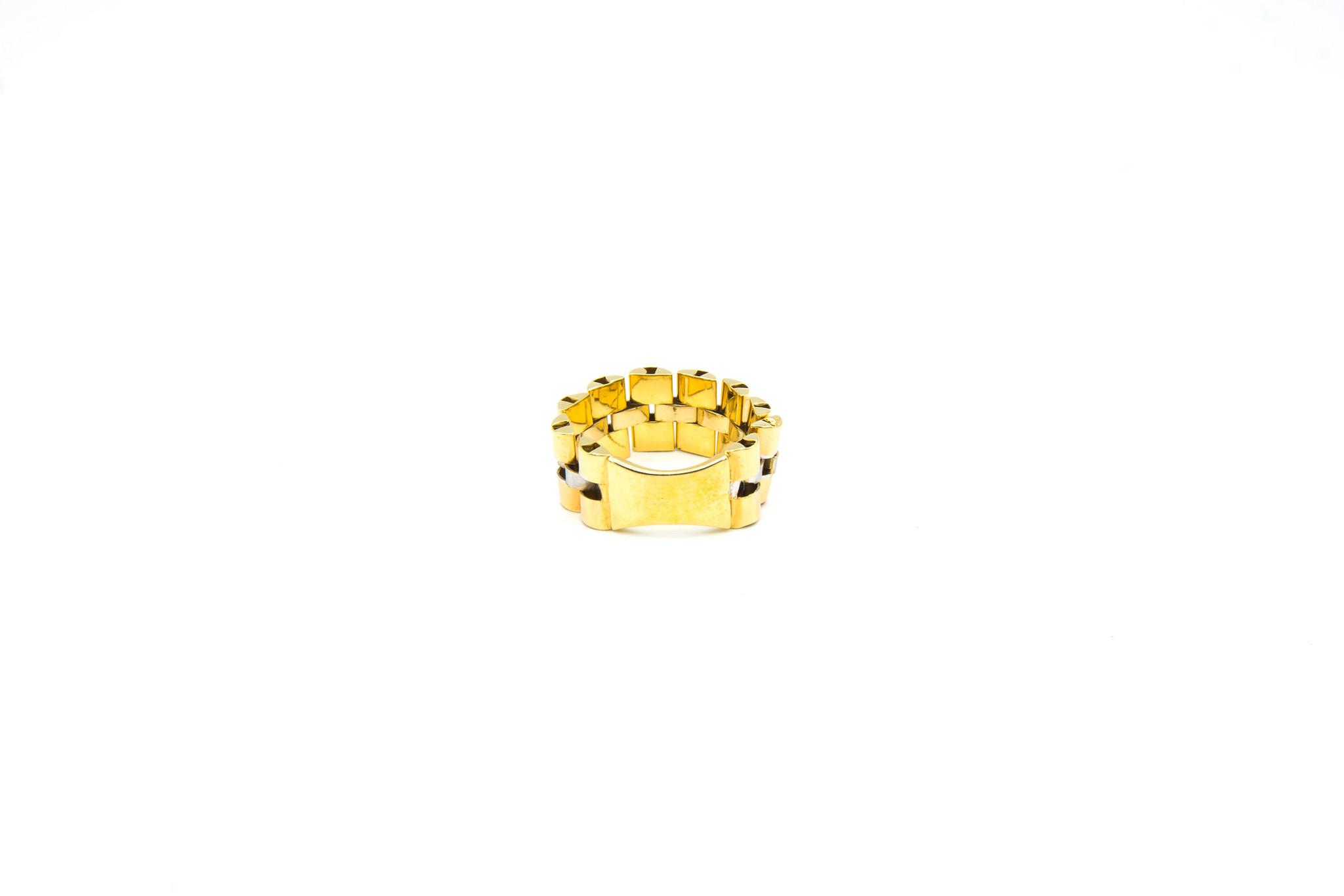 Ring flexibele rolexschakel met plaatje bicolor-2