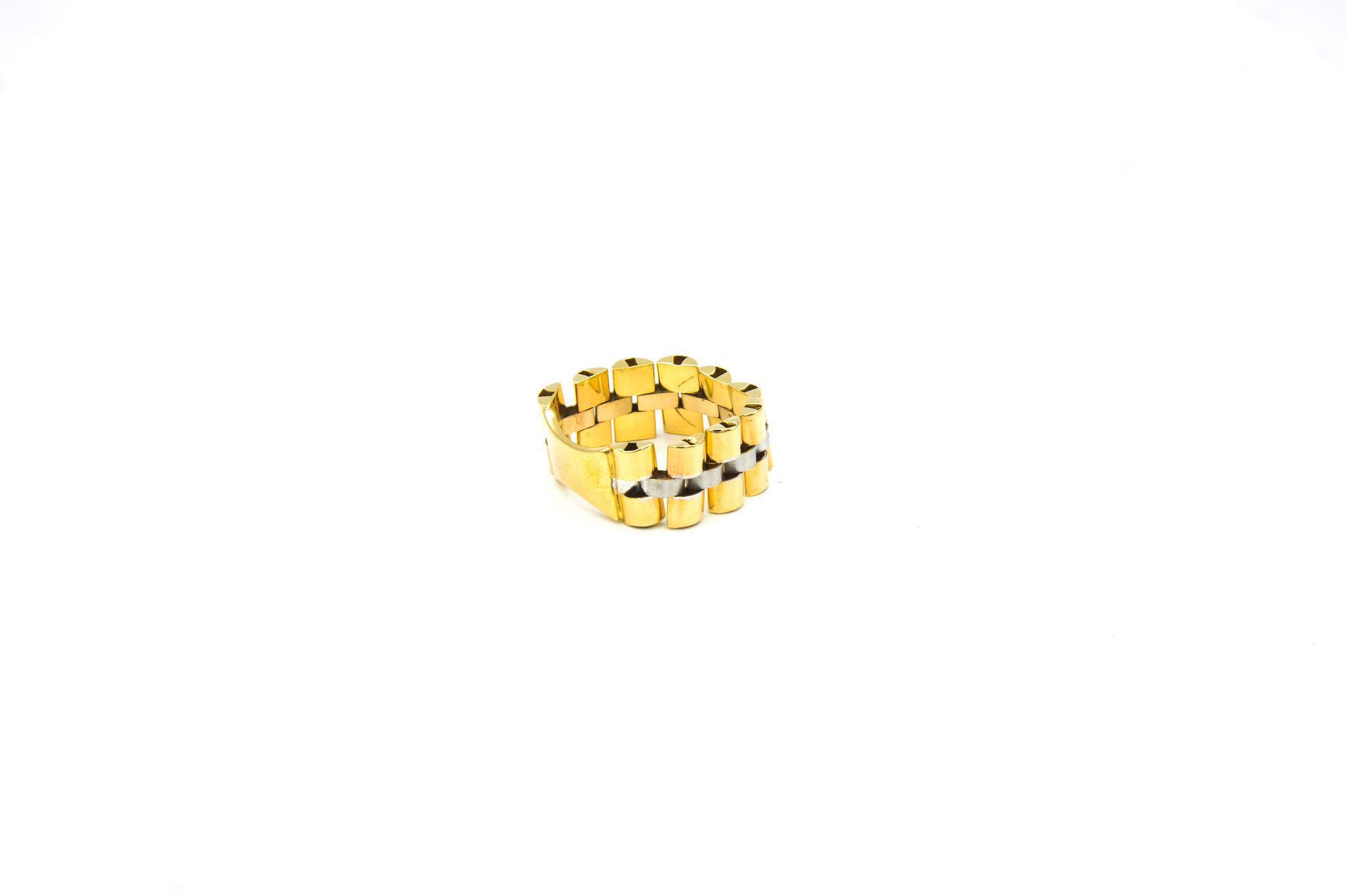 Ring flexibele rolexschakel met plaatje bicolor-3