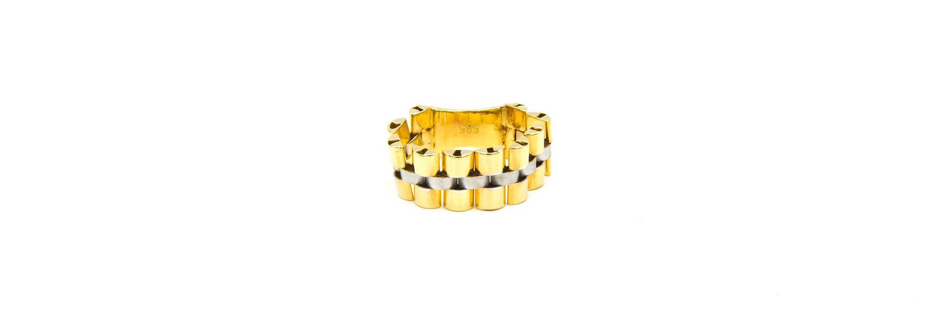 Ring flexibele rolexschakel met plaatje bicolor