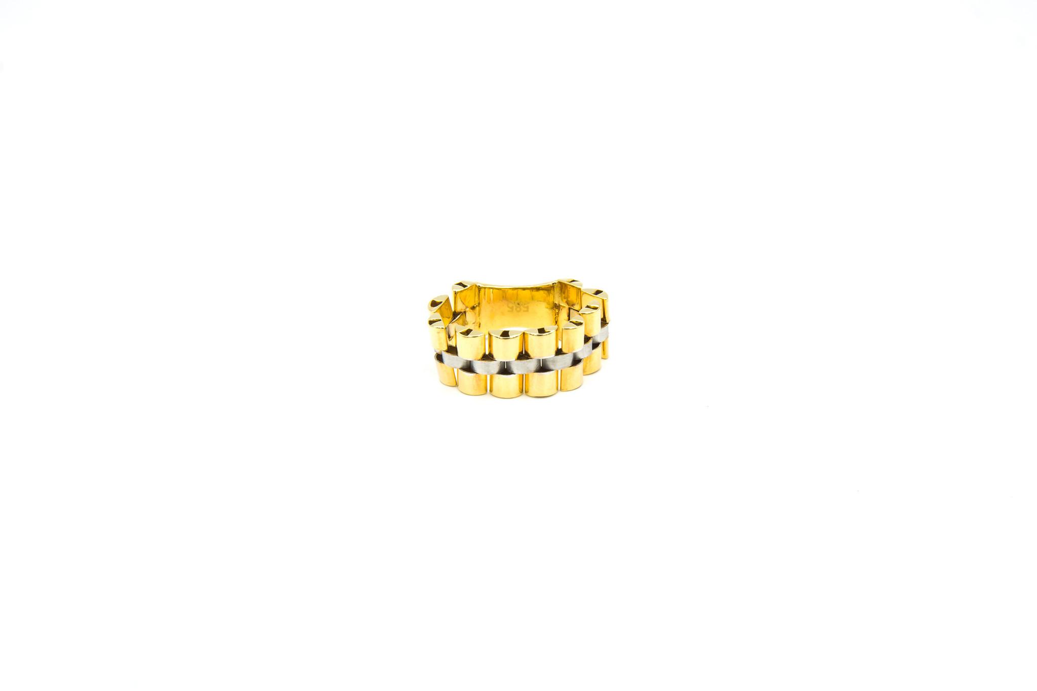 Ring flexibele rolexschakel met plaatje bicolor-1