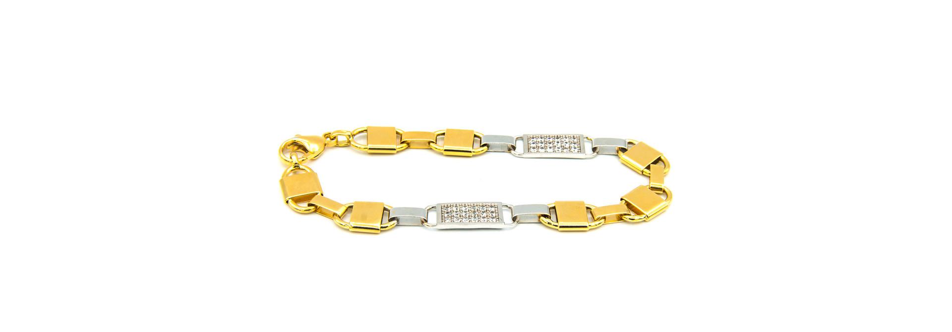 Armband brede Kingsley bicolor met zirkonia's